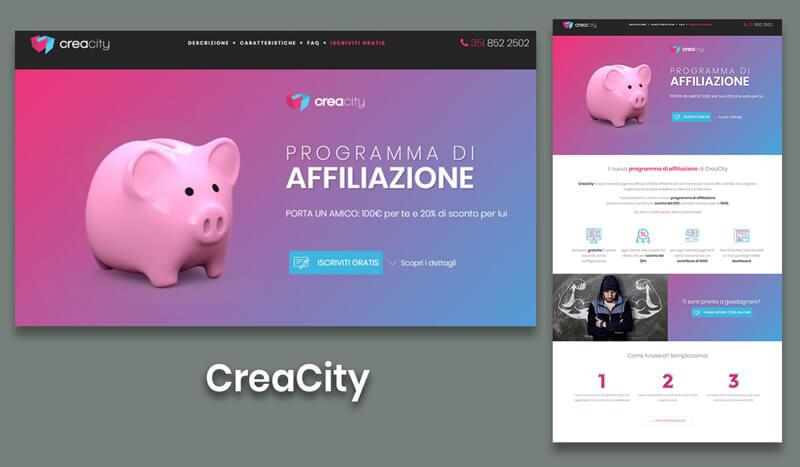 esempi landing page creacity