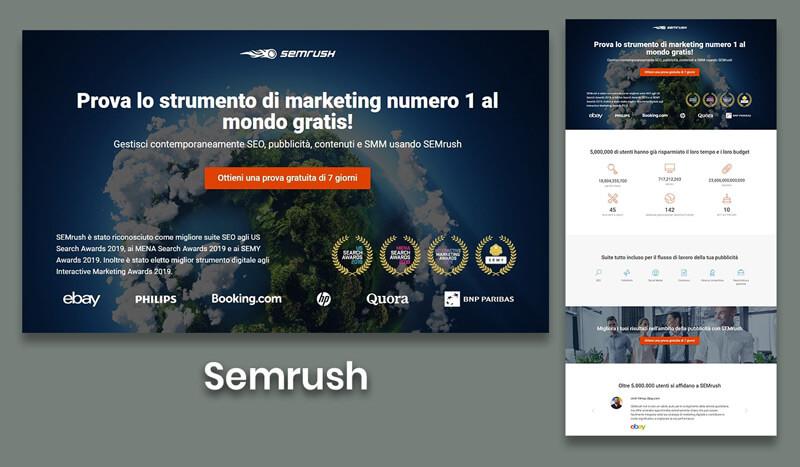 landing page esempi sito semrush